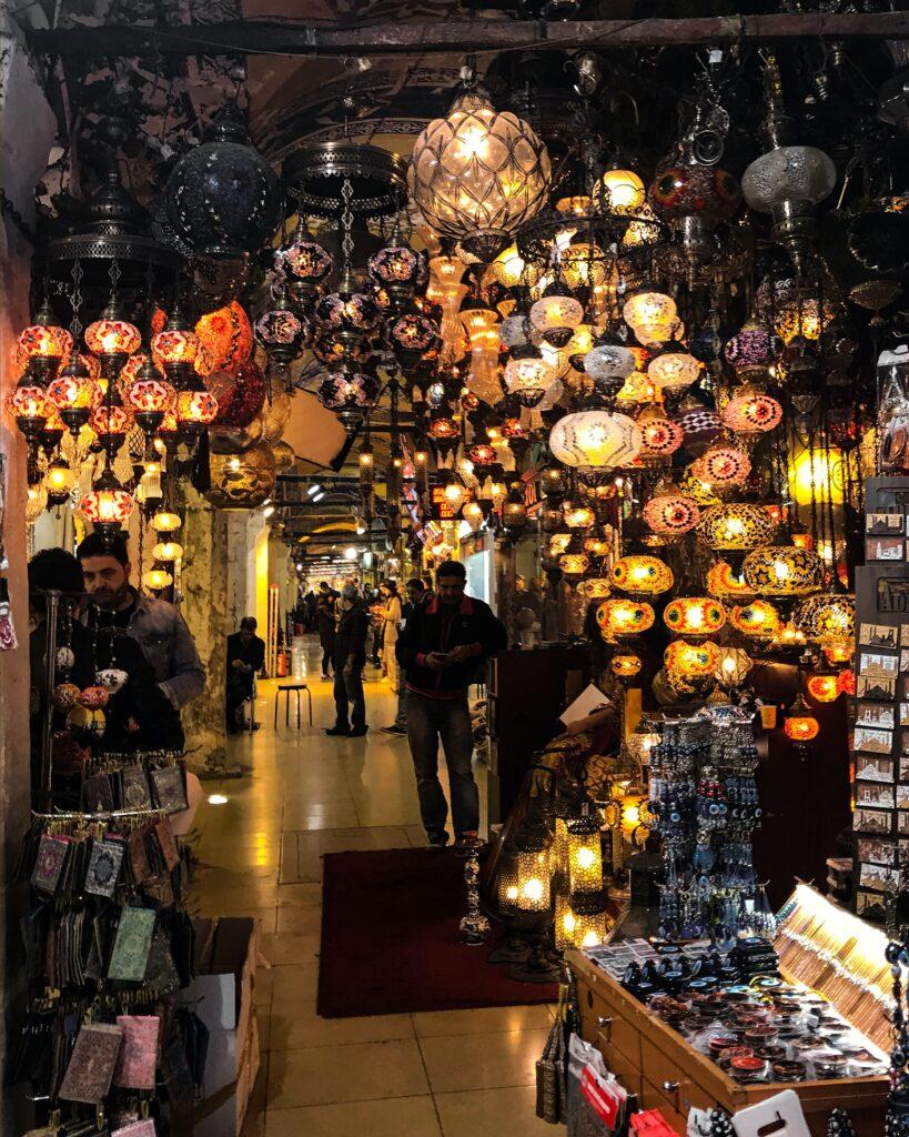 Grand Bazaar colourful lamp shop