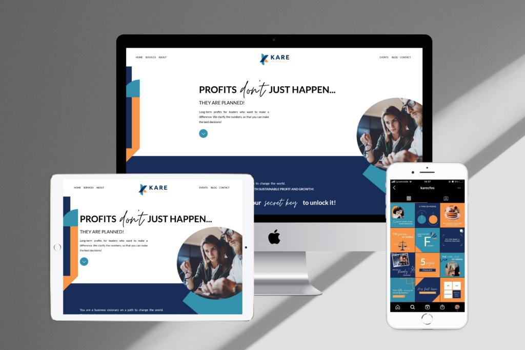 Brand Marketing Services Full Website and Social Media Content for Kare CFO